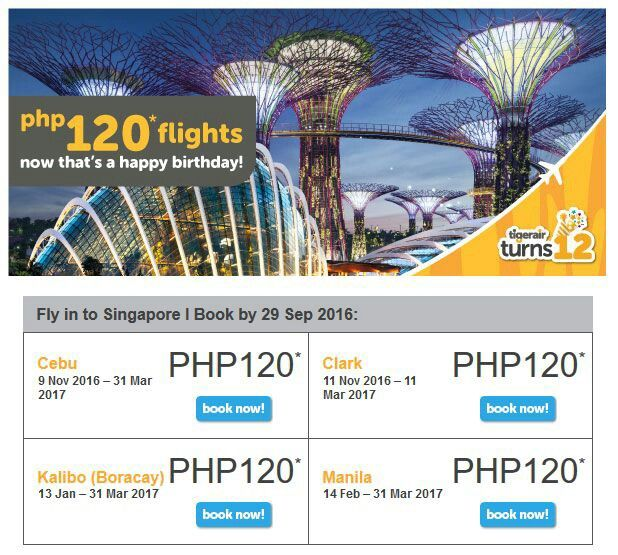 Find out how you can conveniently take advantage of the 120-peso flights from the Philippines to Singapore offered by Tigerair's 12th anniversary promo! Only less than 12 hours left. Share the link so more people can enjoy travelling at a low cost. http://ethanllemit.com/tigerair-12-anniversary-sale/ #tigerair #flightsale #traveldeals #budgettravel #wanderlust #cheaptravel