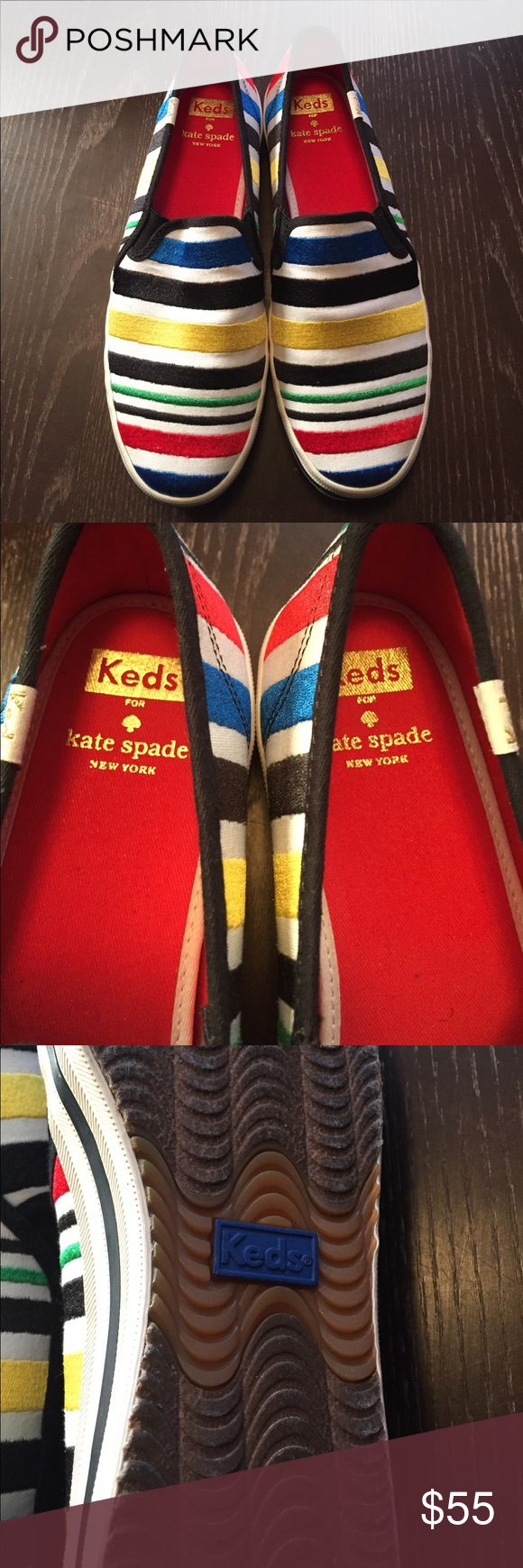 WOMENS KEDS FOR KATE SPADE SZ 7.5 SLIP ON SNEAKERS WOMENS FIR KATE SPADE STRIPE SLIP ON SNEAKERS. NEW NEVER WORN. SIZE 7.5.  BRIGHT COLORED STRIPES. KEDS FOR KATE SPADE Shoes Sneakers