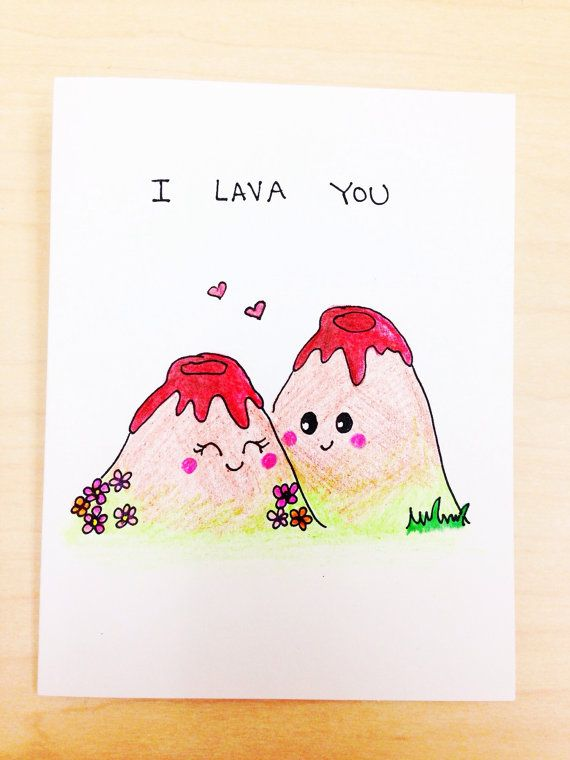 I lava you funny love card,  funny anniversary card, cute boyfriend card,silly hand drawn card, quirky pun card