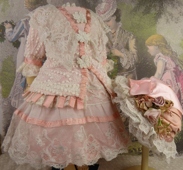Wonderful French pink satin and lace couturier antique doll dress for Jumeau, Bru, Steiner, Gaultier or other Bébé from Stairwaytothepast on Ruby Lane.