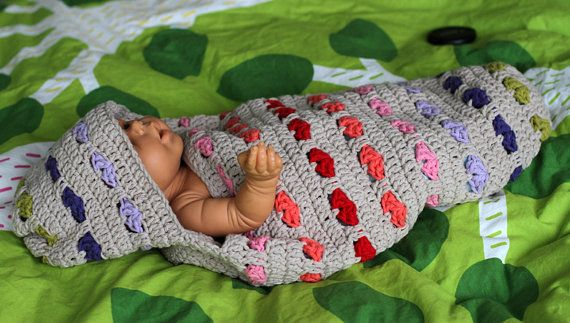 Crochet pattern for hooded baby or newborn cocoon