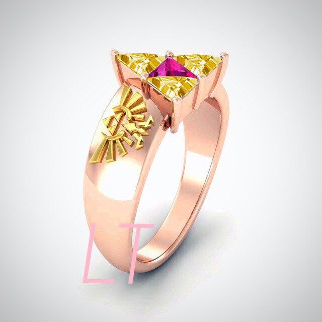 The Legend of Zelda Princess Zelda Inspired 3.25 Cts Yellow and Pink Swarovski Diamond Triforce on Yellow and Rose Gold Engagement Ring by LakewoodTreasures on Etsy https://www.etsy.com/uk/listing/267716399/the-legend-of-zelda-princess-zelda