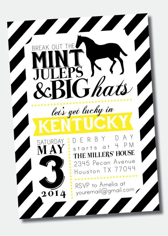 98 best derby party images on pinterest   derby day, kentucky, Party invitations