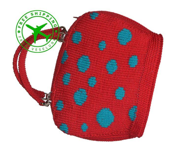 Polka dot bag. Red knitted bag. Medium women's bag. Knit purse. Knitting handbag. Red casual handbag. Handmade jacquard bag. Free shipping! - pinned by pin4etsy.com