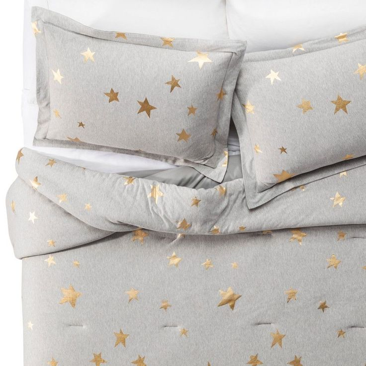 Jersey Stars Comforter Set (Twin) 2 pc - Gray & Gold - Pillowfort