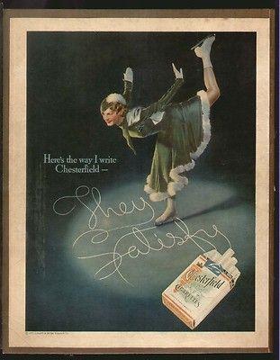 Chesterfield Cigarettes 1935 Sonja Henie Ice Skating Original Print Ad