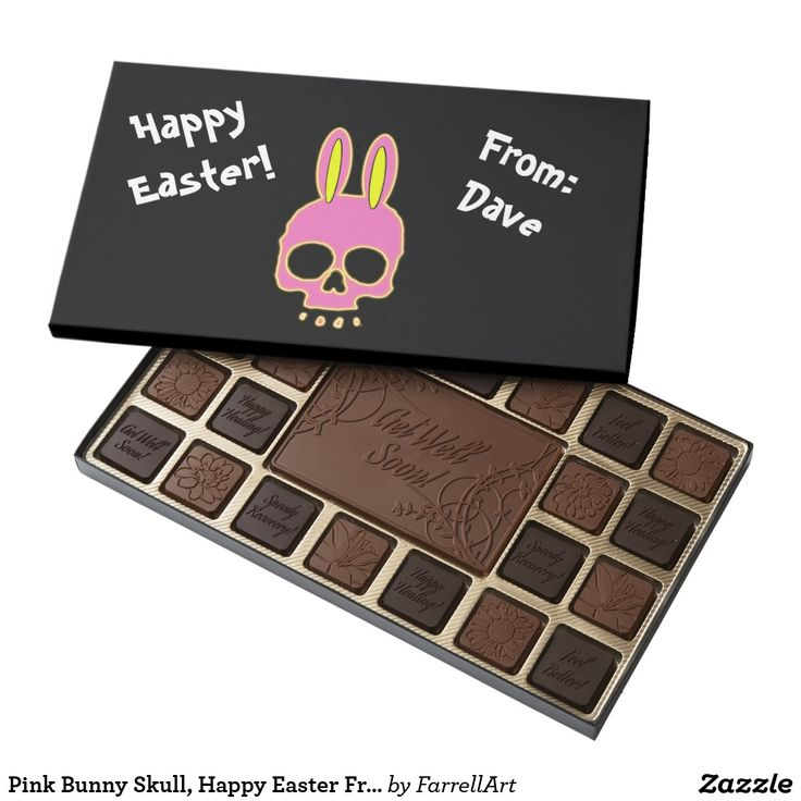Pink Bunny Skull, Happy Easter From Assorted Chocolates