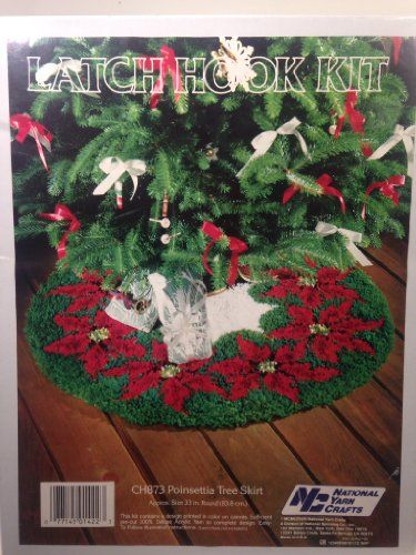 Poinsettia Tree Skirt Latch Hook Kit National Yarn Crafts