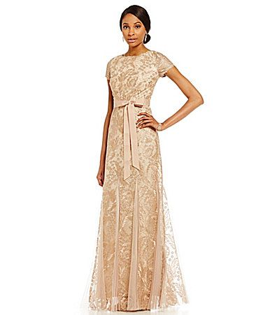 Adrianna Papell Belted Metallic Embroidered Lace Gown #Dillards - Kayla, what about this.  Change belt. plain, but pretty. And i can wear simple beige shoes underneath