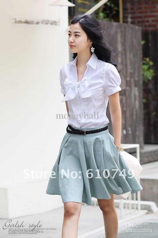 Summer Korean style New fashion Women Slim Puff commuter white short-sleeved shirt