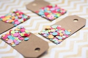 Confetti Tags-project for back room volunteers- could tie to gift bags with twine.  So cute!
