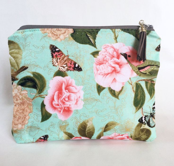 Birds and Butterflies Teal Makeup Bag/Pouch by strawberriesncreamm on Etsy