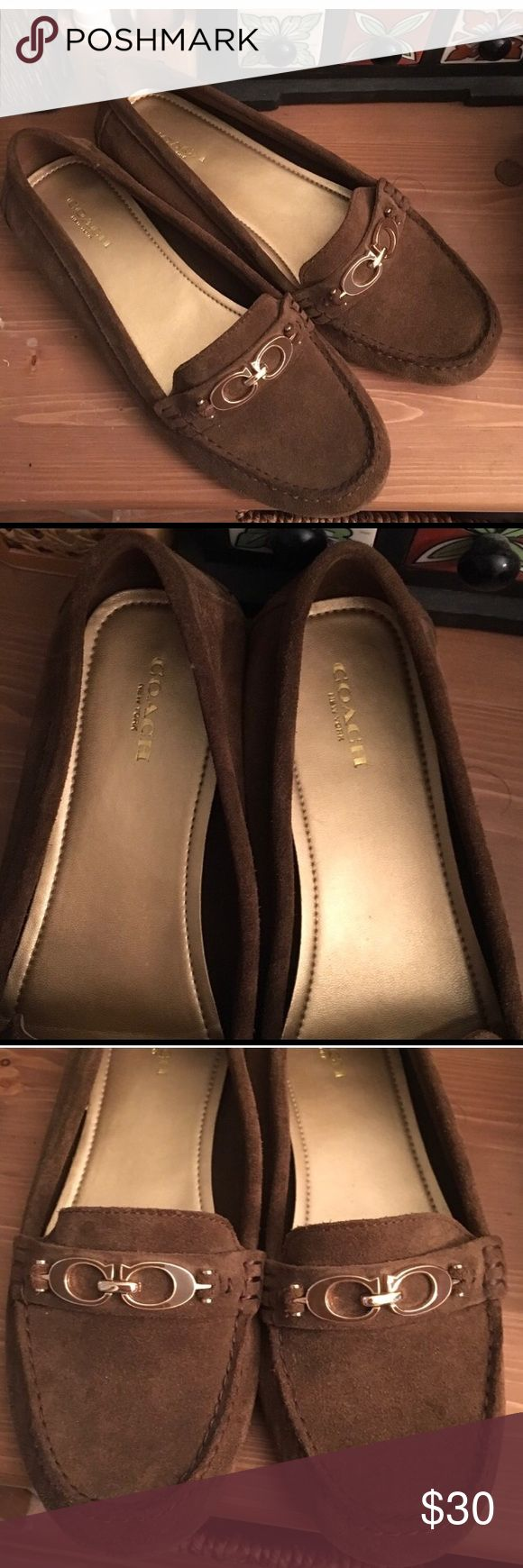 Coach Flats Coach flats. Brown suede with gold hardware detail.  Like new condition Shoes Flats & Loafers