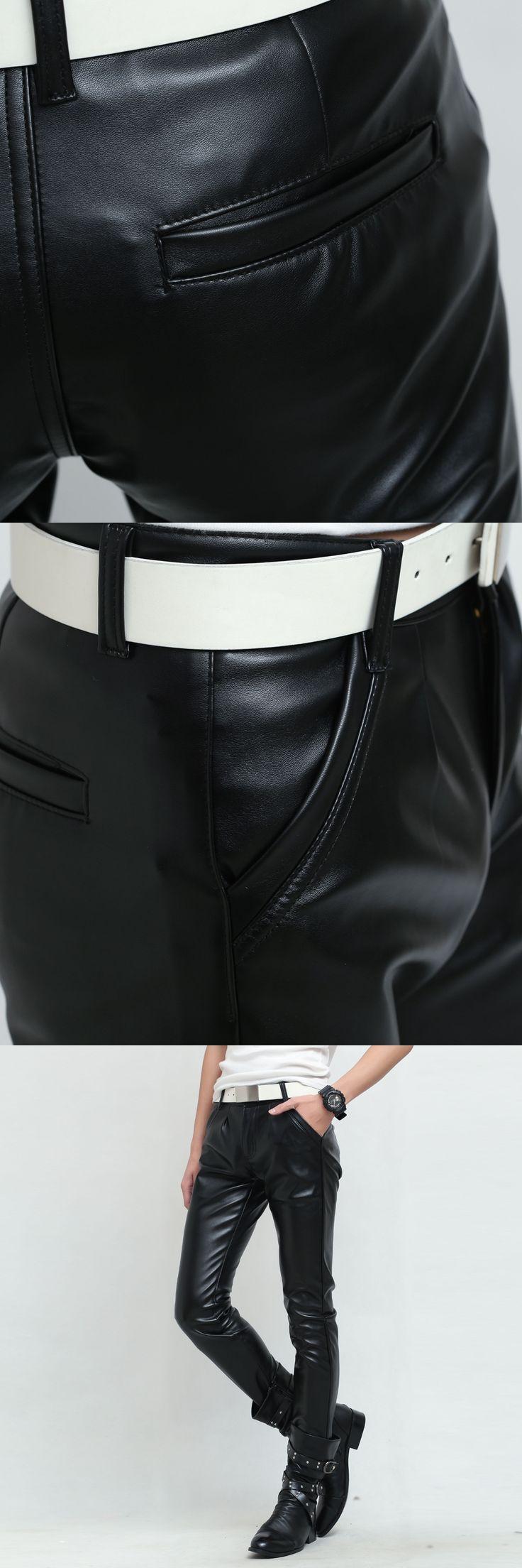 Metrosexual Nightclub Velvet Warm Hip Hop Joggers Mens Leather Trousers PU Mens Fashion Leggings Mens Casual Pants Mens Jogger