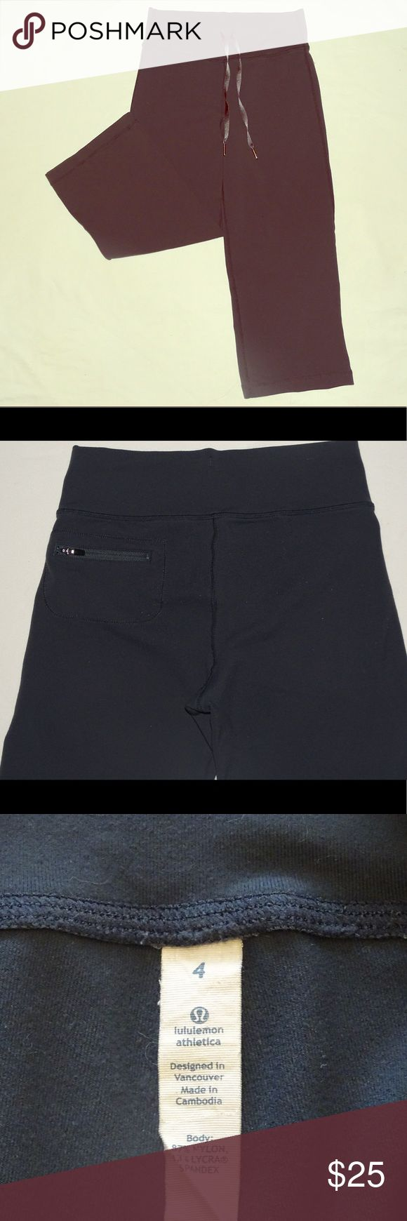 Lululemon Yoga Capris Lululemon Charcoal gray yoga capri is made of 87 percent nylon that makes it super comfortable. Back of pants has some wear - please see picture. lululemon athletica Pants Leggings