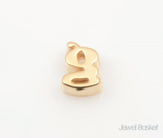"Matte Gold Alphabet - Small Letter ""g""  - Matte Gold Plated (Tarnish Resistant) - Brass / 4.9mm x 6.6mm  - 2pcs / 1pack"