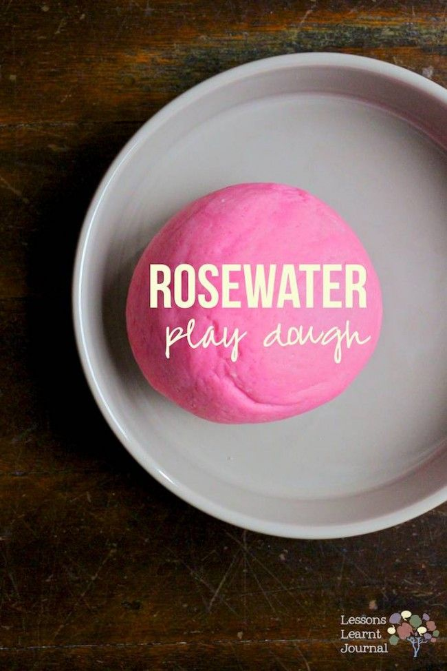 Rosewater scented homemade play dough - easy as pie to make and keeps very well in an air tight container. Great for pre-writing / fine motor skills.