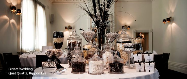 Black and White candy buffet table. Classy and dramatic for candy. Nice.