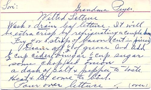 Fan of Food - a blog for cooks and food lovers - Blog Wilted Lettuce Salad -- This is Yum-Yum good with fresh leaf lettuce, chopped green onions -- 1930's recipe!