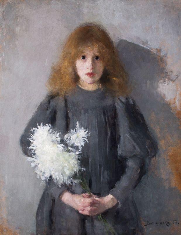 Olga Boznańska, Dziewczynka z chryzantemami (1894). Muzeum Narodowe w Krakowie