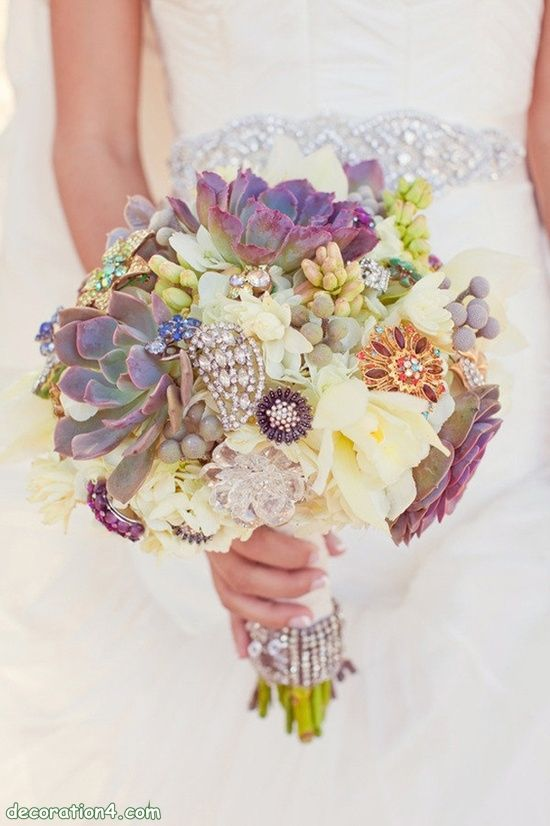 Succulent and Brooch Bouquet.  Pinned by Afloral.com from http://www.decoration4.com/threads/9390-wedding-colors-for-summer-2014 ~Afloral.com has high-quality faux succulents and everything you need to DIY your bouquet.