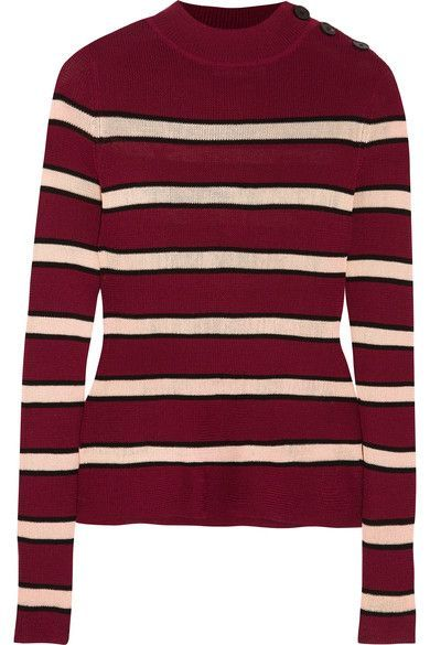 Burgundy, black and cream stretch-knit Button fastenings along shoulder 77% viscose, 23% polyester Hand wash or dry clean Imported