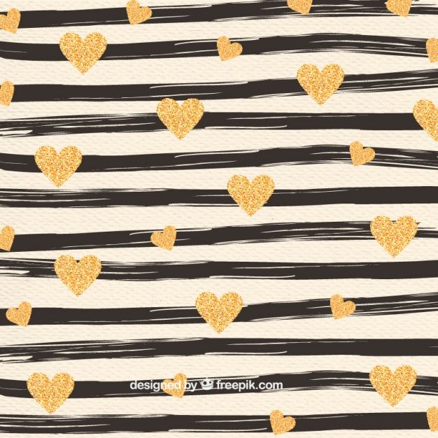 Hand painted stripes and golden hearts pattern Free Vector