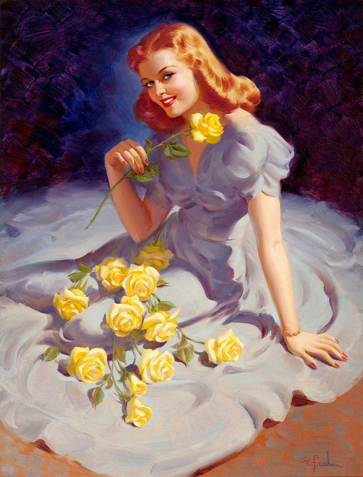 Art Frahm: Yellow Rose, Dresses, Pinup Girls, Redheads, Pinup Art, Pin Up, Photo, Artfrahm, Art Frahm