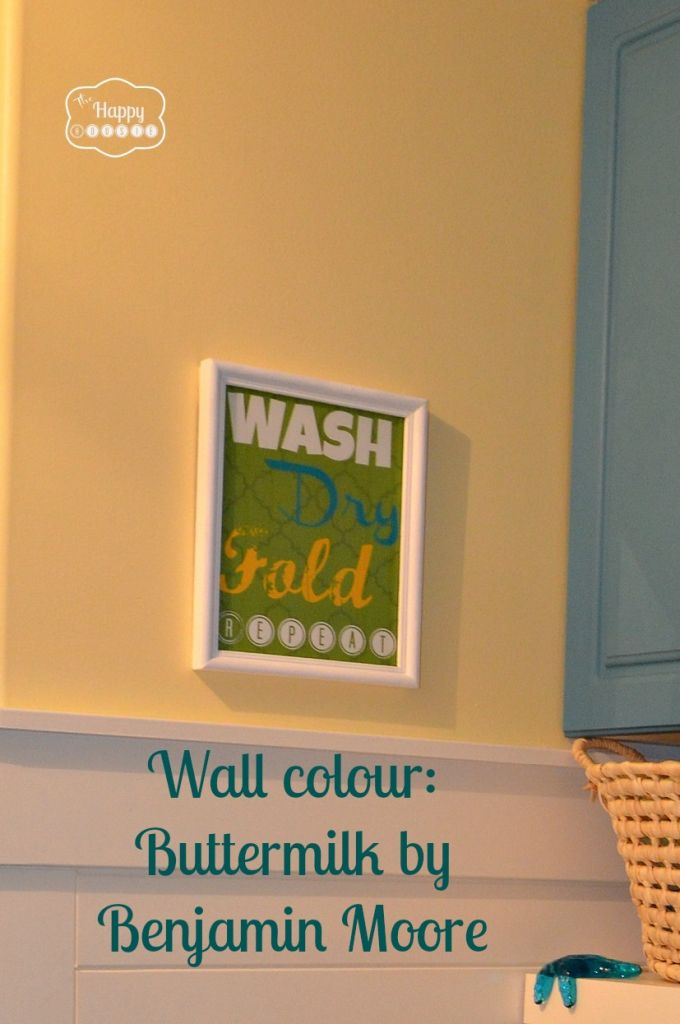 Laundry Mud Room wall colour Buttermilk by Benjamin Moore at thehappyhousie---love this yellow---want it now!