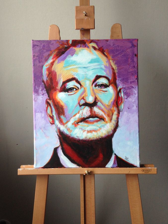 Bill Murray. Acryl on canvas. Bright colors painting from warm to cold | www.heikkisivonen.com