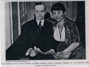 Grace Goodhue (Pi Beta Phi) and Calvin Coolidge (Phi Gamma Delta) were the first couple in the White House who has been initiated into GLOs as college students. The linked articled has the list of all Presidents and First Ladies who belong to GLOs. See http://wp.me/P20I1i-l5.