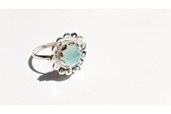 Daisy ring with Rose Cut Chalcedony by emma anne