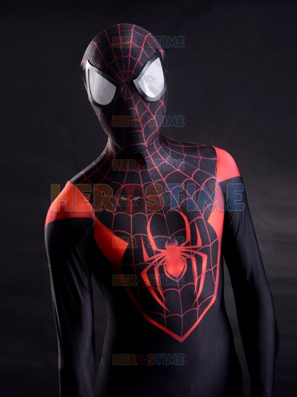 New Spiderman Costume 3D Printing Ultimate Miles Morales Superhero Spider-Man Costume Halloween Cosplay Free Shipping XS-XXXL