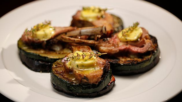 MKR4 Recipe - Vegetable Stack with Lamb Cutlets and Anchovy Butter _ the judges said that the vegetable stack was perfect.