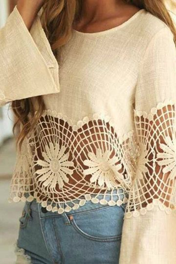 Loose Casual Hollow Out Design Lace Details Corp Blouse