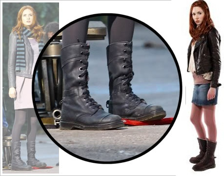 Karen Gillan of Doctor Who as Amy Pond, wearing Dr. Martens Triumph 1914 boots in black Mirage and dark brown shearling.
