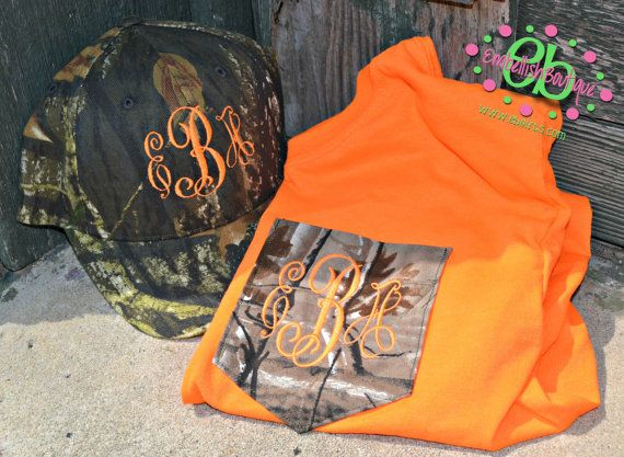 MONOGRAMMED Camo Patterned Pocket Tee and Matching Hat - Short Sleeve - Hunting - Girls - Women - Fluorescent Orange - Deer on Etsy, $42.00