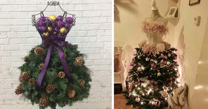 To tu ešte nebolo! Stromčeky vyzerajúce ako večerné šaty! 20 inšpirácií na netradičné vianočné stromčeky s využitím figuríny. vianočné stromčeky z figuríny
