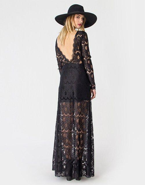 Μαύρο μάξι φόρεμα από δαντέλα με ανοιχτή πλάτη και μακριά μανίκια