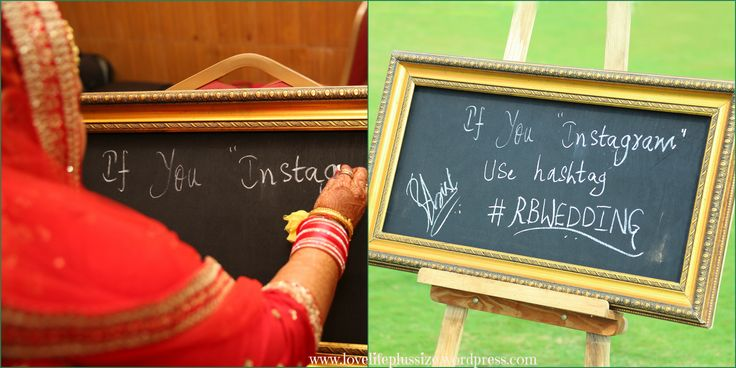 Me writing the Instagram Hashtag on the board Wedding hastags #weddinghastag