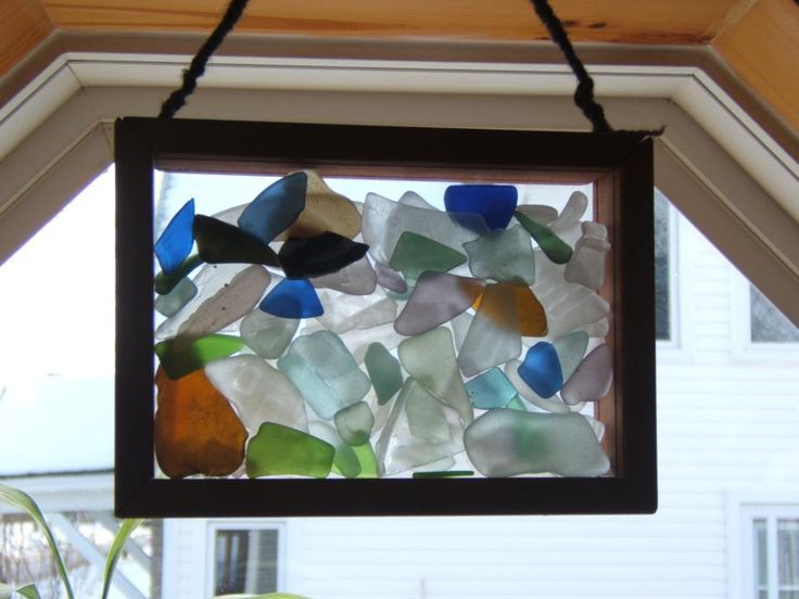 Beach Glass in a Shadow Box (Cool- then when the sunlight shines through, it will scatter color in your room. ~M)