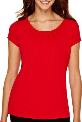 Worthington Short-Sleeve Essential T-Shirt - Petite - Shop for women's T-shirt - Cherry Cordial T-shirt