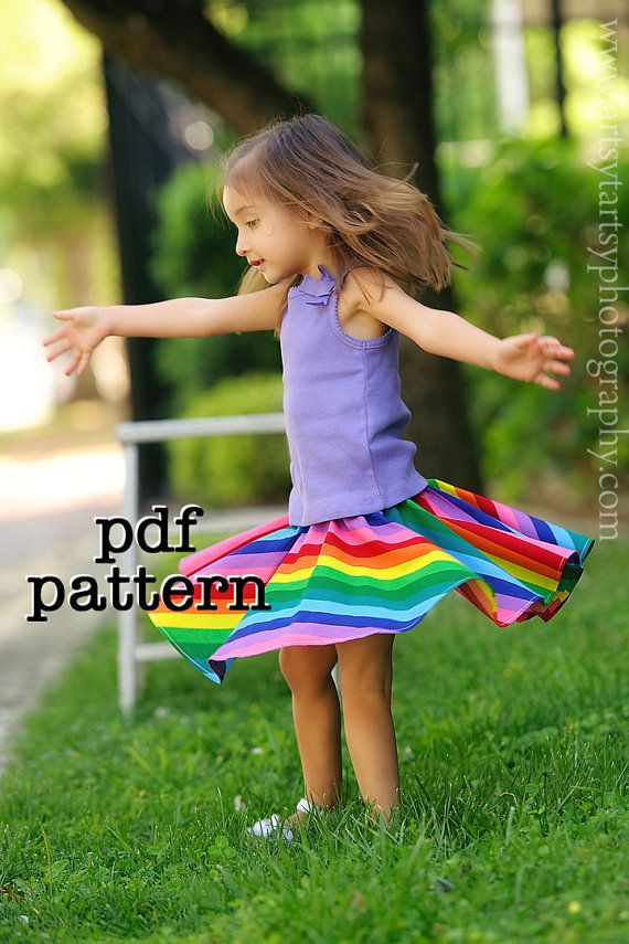 Instant Download - PDF Twirly Whirly Circle Skirt Pattern for Babies, Toddlers, Girls Sizes 6-9m, 12-18m, 2t, 3t, 4t, 5t, 6, 7, 8, 10 & 12