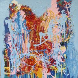Jij daar. Abstract werk, gemengde technieken, dripping techniek, afmeting 50 * 50 cm. Schilderij, schilderijen, olieverf, linnen, acryl, verf, gemengde techniek
