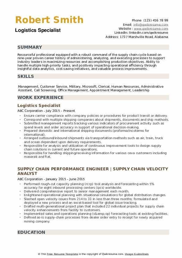 Logistics Specialist Resume Samples Manager Resume Chef Resume Finance