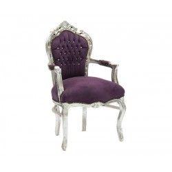 Poltrona sedia barocco argento viola Luigi XVI braccioli legno gemme