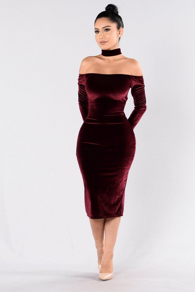 - Available in Black and Burgundy - Velvet Dress - Off Shoulder - Long Sleeve - Choker Attached - Zipper Back - Back Slit - Made in USA - 90% Polyester 10% Spandex