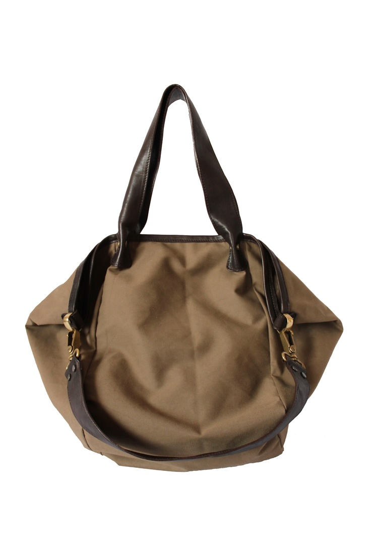 Canvas shopper with leather straps. By Paulina Botero