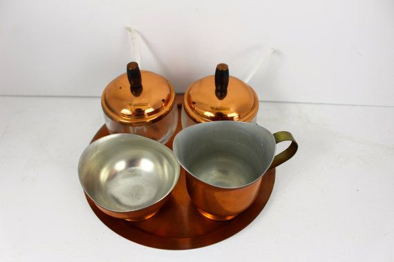 Vintage Copper Condiment Set Five piece set Two mustard or jam servers, Cream and Sugar Copper Platter Scandinavian Danish Modern Style