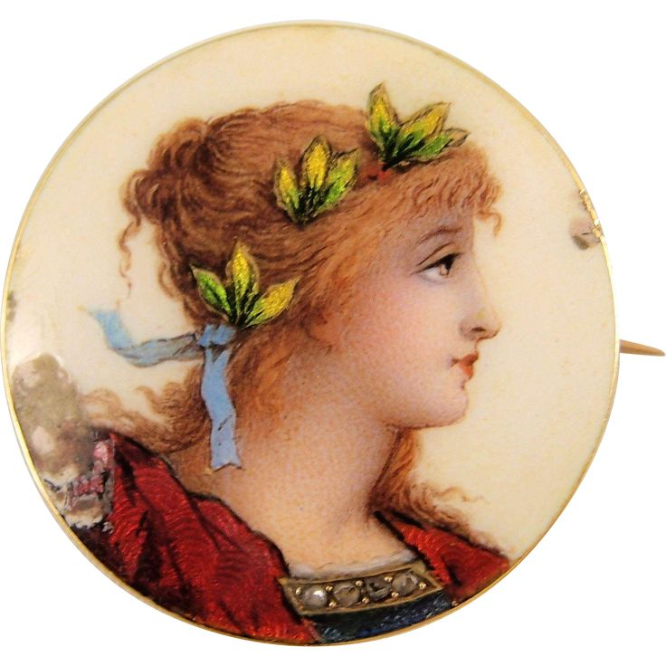 Delicate 1890s enamel portrait of beautiful girl, 18K stamped French solid gold and rose cut diamonds